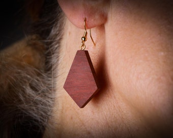 Dangle Earrings, Red Wood Diamond Shaped, Handmade