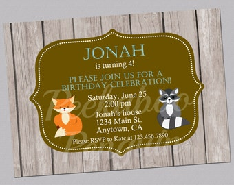 Woodland Invitations, Forest Invitations, Woodland Birthday Invitation, Fox And Raccoon Invitation, Digital Invitation, Printable
