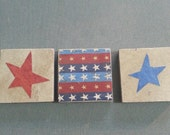 Patriotic Refrigerator Magnets, Stars and Stripes, Set of 3 Stone Tile Magnets