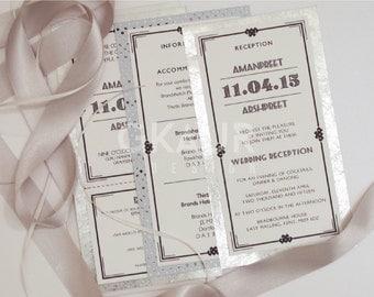 Art Deco Wedding Invitation + Perforated RSVP + Envelopes