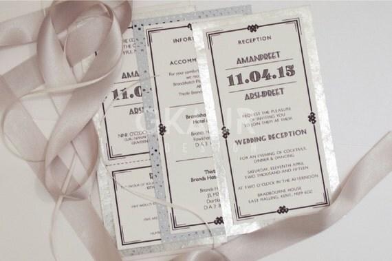 Art Deco Wedding Invitation Perforated By GKDWeddingStationery