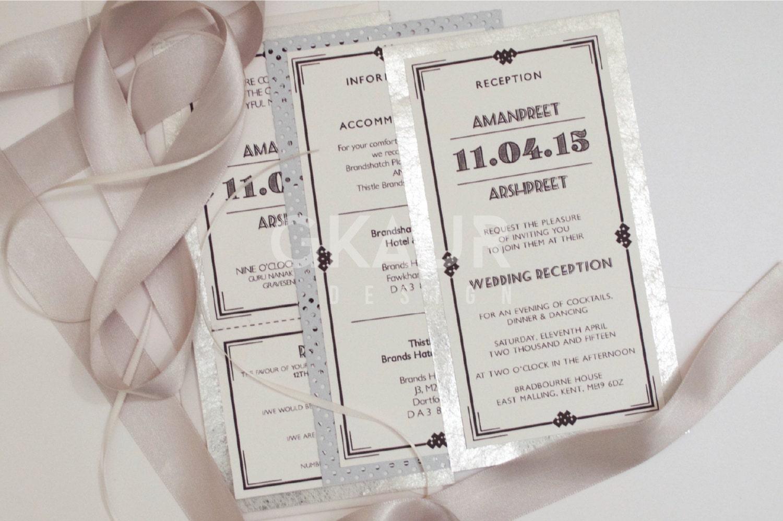 Art Deco Wedding Invitation + Perforated RSVP + Envelopes ...