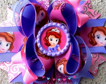 Sofia the first inspired boutique hair bow!