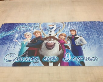 Birthday banner Personalized 4ft x 2 ft Frozen, Disney, Elsa, Anna, Olaf, Christoff, Hans, Sven