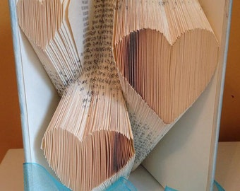 Multiple Heart Folded Book Art **Pattern** Book Folding Origami Free Instructions