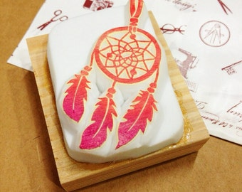 Dreamcatcher hand carved rubber stamp.dreamcatcher stamp.