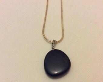 Women's Natural Stone Pendant Charm Necklace Silver Chain Black