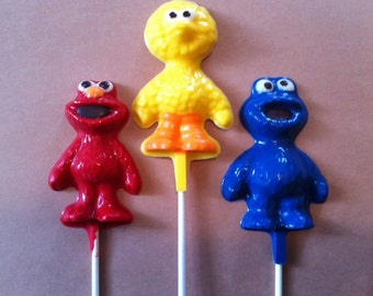 20 Chocolate SESAME STREET Lollipop Party Favors - Elmo Big Bird Cookie Monster