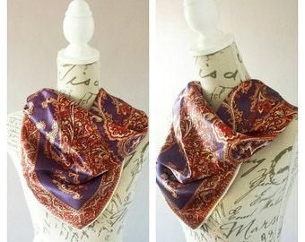 Beautiful Burgundy & Plum Paisley Print Silk Scarf