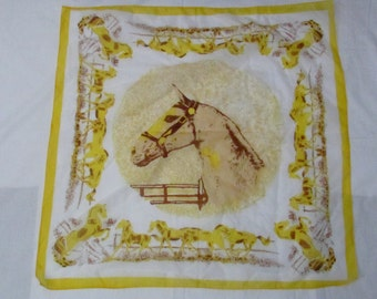 14-1018 25% OFF Vintage 1950's Equestrian Horse Scarf / Yellow Scarf / Horses / Head Scarf / Made in Japan / American Vintage