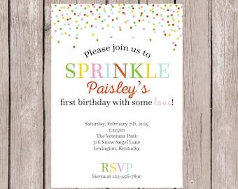 PRINTABLE- Sprinkle Birthday Invite- Birthday Party Invite- Birthday Invite- Birthday Invitation- First Birthday Invite- 5x7JPG