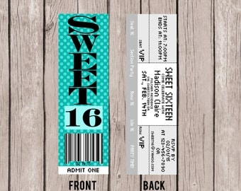 PRINTABLE TICKET INVITATION - Sweet Sixteen 16- Birthday Party Invitation- Sweet Sixteen Invite
