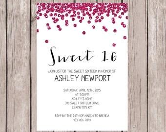PRINTABLE- Sweet 16 Birthday Invitation- Sweet 16 Birthday Invite- Pink Glitter Birthday Party Invite- 5x7 JPG