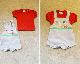 Vintage - Baby 1960s Red Shirt & Teddy Bear Short Overalls Set (Size 9M)