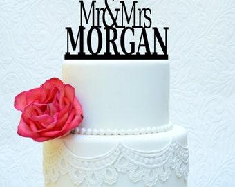 Wedding Cake Topper - Mr and Mrs Cake Topper - Custom Cake Decoration 5x5.5 (item number 10015)