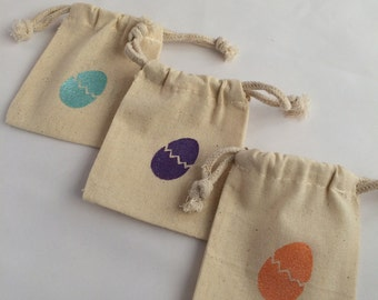 Easter Gift Bag/ Favor Bag: Reusable Easter Egg Drawstring Easter Favor Bags, Chick Gift Bag, Easter Chick Egg Gift Bag