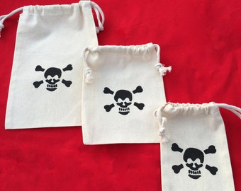 Pirate Favor Bags: Drawstring Pirate Party Bags, Muslin Pirate Goody Bags, Skull & Crossbone Treat Bags, Pirate Loot Bag