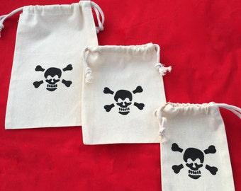 Pirate Favor Bags: Drawstring Pirate Party Bags, Muslin Pirate Goody Bags, Skull & Crossbone Treat Bags, Pirate Loot Bag
