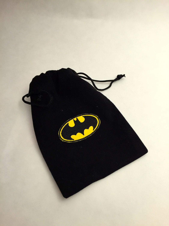 Superhero Favor Bags: Batman Favor Bag Drawstring Bags With
