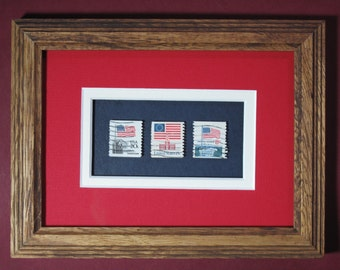 Framed Stamp Art! American Flags! Acid Free! Collectible USPS Postage Stamps! Ready to Hang!