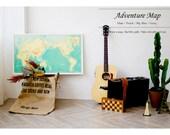 Carte du monde d'aventure / [menthe, bleu, rouge, Ivoire] / monde voyage carte Poster avec les courants océaniques / carte décor / Mapr Art