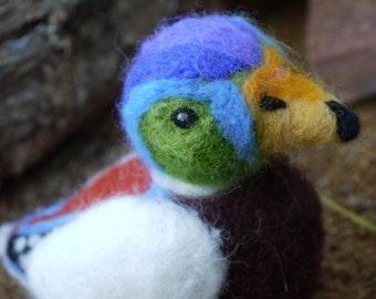 Needle felted duck. Needlefelt animal. Handmade animal. Soft sculpture duck. Bright coloured male duck. Felted animal, animal portrait.