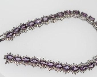 925 Amethyst / White Topaz Bracelet