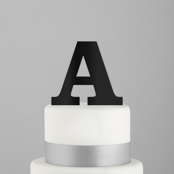 Details About Serif Monogram Acrylic Cake Topper In Black Single Letter L