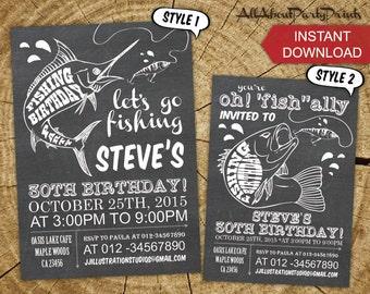 Fishing Birthday Party Invitation printable -Adult Birthday Invitation-digital file