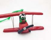 Polymer clay pilot turtle figurine, miniature turtle in an airplane, miniature pilot turtle Christmas ornament, turtle ornament