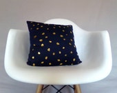 Navy Blue Gold Dot Pillow Cover Cushion Metallic Foil Throw Pillow Home Decor Bedding Accent Bold Vibrant Shiny Designer Blue Elegant Classy