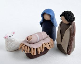 Miniature Clay Nativity -- Joseph, Mary, Manger, and Lamb