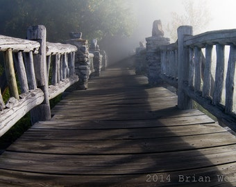 Foggy Walkway: natural walkway in the morning fog - West Virginia - Photographic Print - Glossy or Matte finishes