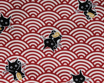 Japanese Quilting Fabric - CATS ON WAVES Red - Linen-look Cotton - sold by 1/4 metre or Fat Quarter