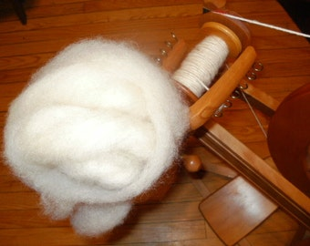 Natural White Border Leicester Wool Roving (4 oz)
