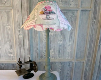 Shabby chic LAMPSHADE, PATISSERIE, MACAROONS, French pastry shop motif