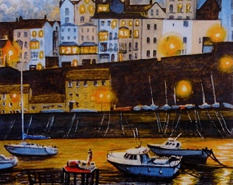"Tenby Harbour evening."" A signed and limited print by Andrew Bailey. Tenby, Saundersfoot, Beach, Seascapes and Wildlife Originals and prints"