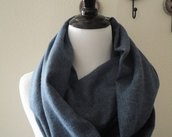 Soft and Warm Blue Loop Scarf