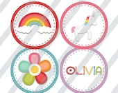 "Unicorn Rainbow 2"" inch Cupcake Toppers, DIY Cupcake Toppers, Printable Cupcake Toppers, Party Circles, personalized"