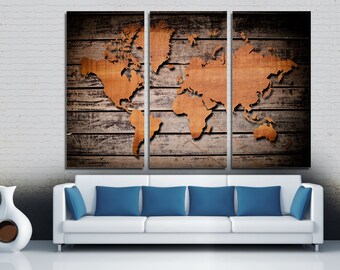 Abstract black world map canvas print 3 panel split wood style world map canvas print 3 panel split triptych art for home gumiabroncs Image collections