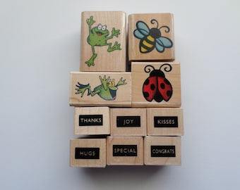 Set of 10 Rubber Stamps