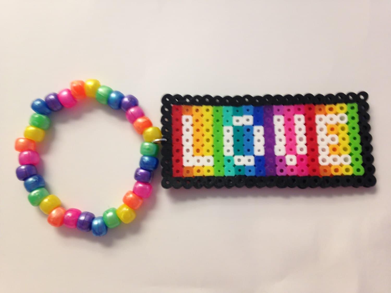 Kandi Pony Beads And Rave: Love Perler Bead Rave Kandi Single