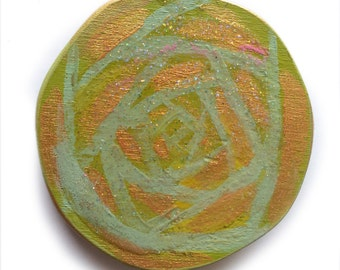 Illustrated wooden brooch, wooden illustrated green rose, handmade one of a kind