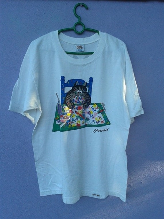 Vintage funny hawaii cat bkliban graphic t shirt for Hawaiian graphic t shirts