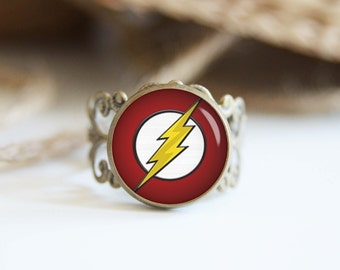 Flash superhero 25mm adjustable ring, antique silver or antique bronze, cool jewelry