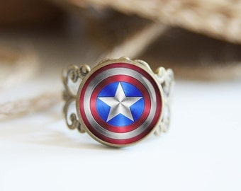 Captain America superhero 25mm adjustable ring, antique silver or antique bronze, cool jewelry