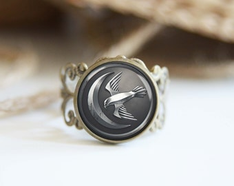 House Arryn Game of Thrones adjustable ring, antique silver or antique bronze, cool jewelry