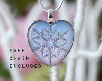 Heart shape showflake necklace. Romantic gift pendant. Free matching chain is included.