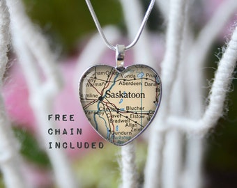 Saskatoon Canada heart shape vintage map necklace. Location gift pendant. Free matching chain is included.