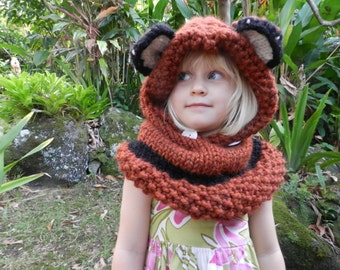 Woodland Hooded Fox Cowl, Fox Hood, Fox Snood, Knit Animal Cowl